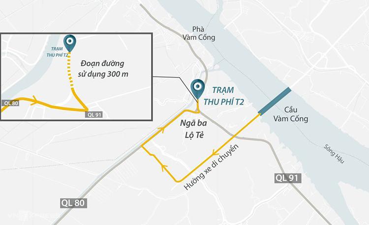 Vị trí trạm BOT T2 bị các tài xế phản ứng. Ảnh: Thanh Huyền.