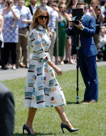 Melania diện váy gần 4.000 USD khi đến Nhật Bản - ảnh 2