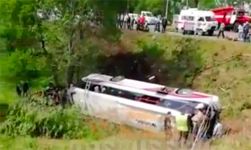 Hiện trường vụ tai nạn tại vùng Primorye ở Viễn Đông Nga hôm nay. Ảnh: Instagram.