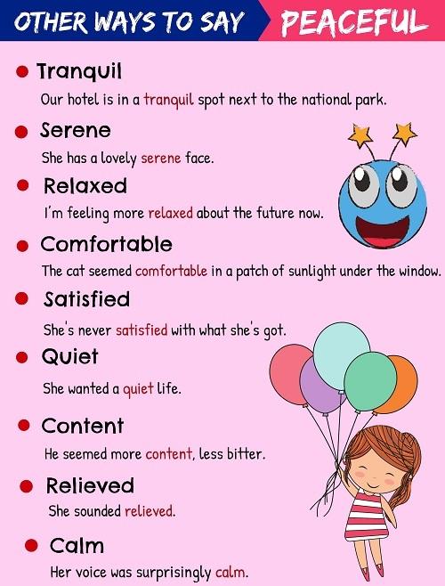 Những từ vựng thay thế 'peaceful'