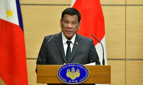 Tổng thống Philippines Duterte tại Diễn đàn Tương lai châu Á ở Nhật Bản ngày 31/5. Ảnh: Reuters.