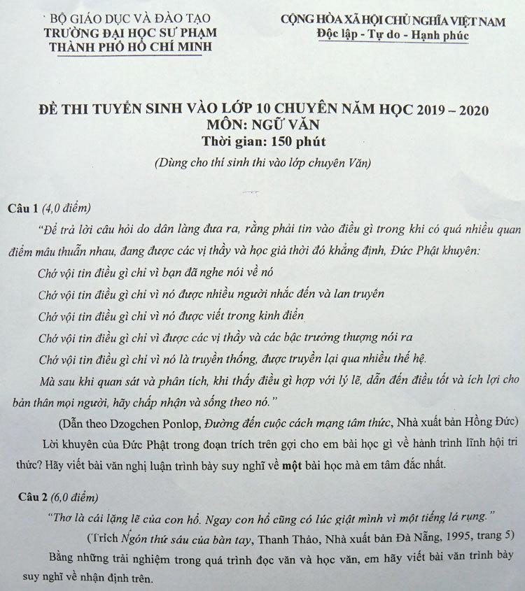 Lời khuyên của Đức Phật vào đề Văn chuyên lớp 10 Đại học Sư phạm TP HCM