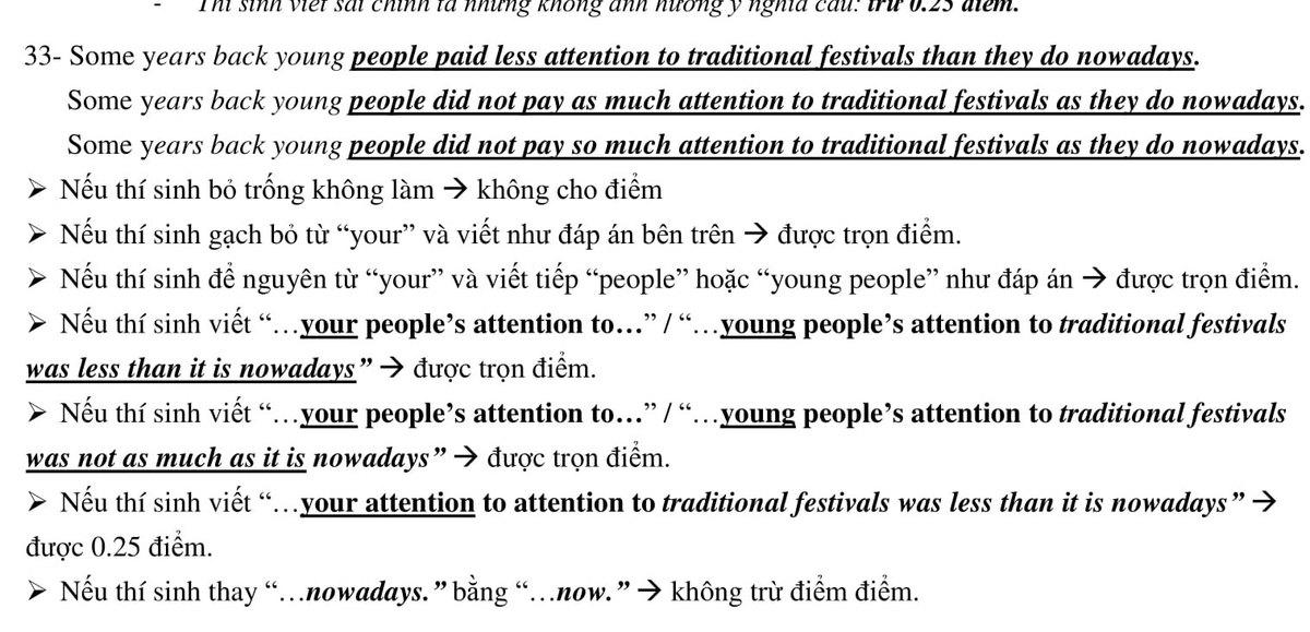 9 phương án chấm cho câu hỏi sai trong đề tiếng Anh lớp 10 TP HCM