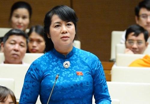 Bà Trần Kim Yến tại Quốc hội. Ảnh: Trung tâm báo chí