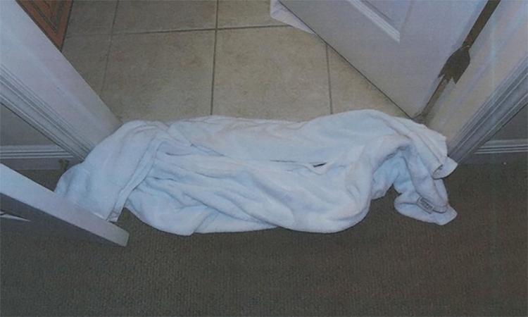 Khe cửa phòng bị lèn chặt khăn tắm để ngăn mùi thi thể.