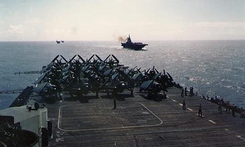 Tàu sân bay USS Hornet tại tây Thái Bình Dương tháng 6/1945. Ảnh: US Navy.