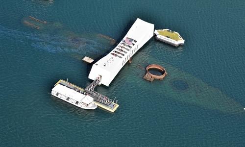 Đài tưởng niệm tàu USS Arizona ở Trân Châu Cảng, Hawaii. Ảnh: Bellingham Marine.