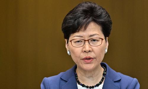Trưởng đặc khu hành chính Hong Kong Carrie Lam phát biểu trong cuộc họp báo hôm 10/6. Ảnh: AFP.