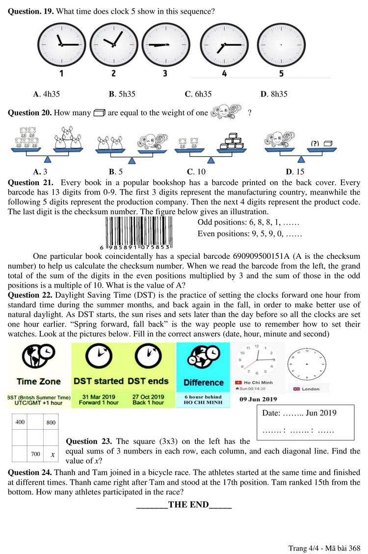 Đề và đáp án bài khảo sát vào lớp 6 trường chuyên Trần Đại Nghĩa - 3