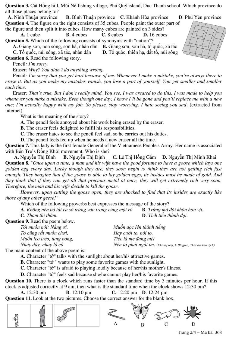 Đề và đáp án bài khảo sát vào lớp 6 trường chuyên Trần Đại Nghĩa - 1