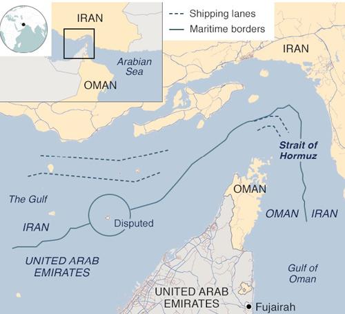 Vị trí Vịnh Oman. Đồ họa: BBC.