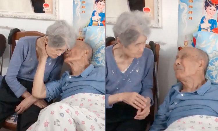 Cụ bà hết giận dỗi vì được cụ ông hôn lên má -