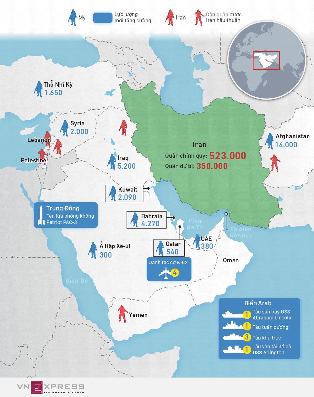 Tương quan lực lượng quân sự Mỹ - Iran tại Trung Đông - ảnh 1