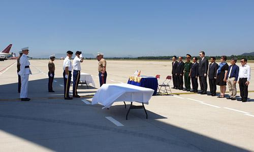 Lễ hồi hương hài cốt binh sĩ Mỹ tại sân bay Đà Nẵng hôm nay. Ảnh: Bộ Ngoại giao.