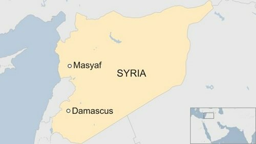 Vị trí thành phố Maysaf của Syria. Đồ họa: BBC.