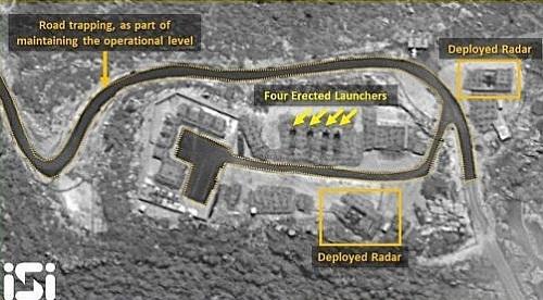 Trận địa bố trí 4 bệ phóng S-300 của Syria ở Masyaf. Ảnh: ISI.
