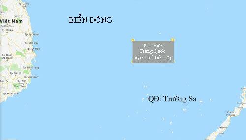 Khu vực Trung Quốc tuyên bố diễn tập ở Biển Đông. Đồ họa: Google Map.