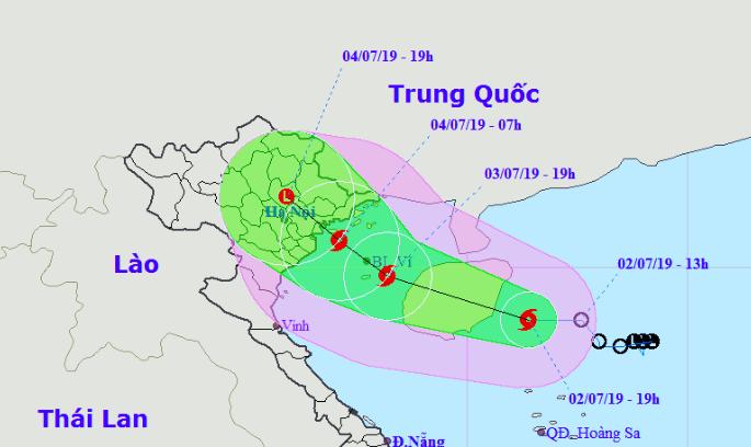 Vị trí và đường đi của bão Mun. Nguồn: NCHMF.