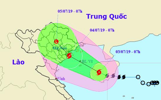 Vị trí và dự báo đường đi của bão Mun. Nguồn: NCHMF.