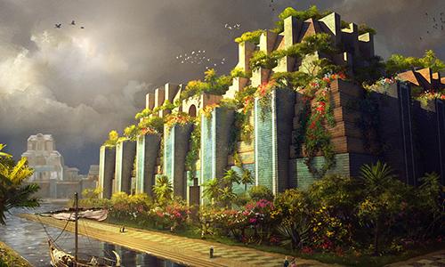 Hình vẽ mô phỏng vườn treo Babylon. Ảnh: Anomalien.