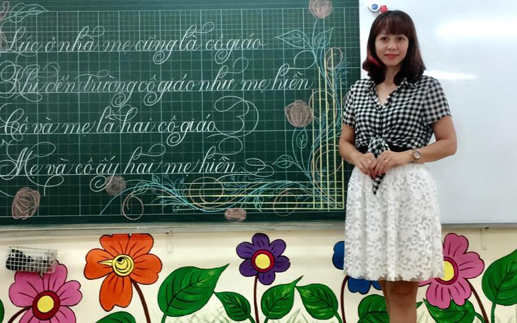 Cô giáo Lê Thu Lan ở trường Tiểu học Nghĩa Đô (Cầu Giấy, Hà Nội).
