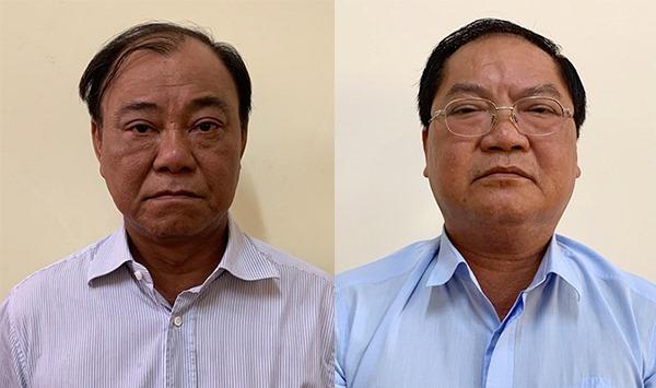 Ông Lê Tấn Hùng (trái) và Nguyễn Thành Mỹ tại cơ quan điều tra. Ảnh: Bộ Công an.
