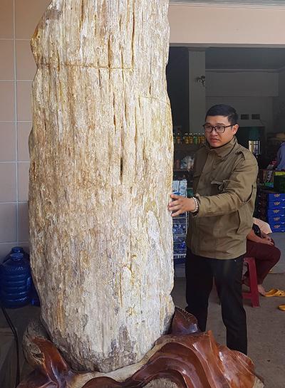 Khối gỗ hóa thạch gần như còn nguyên vẹn. Ảnh: Trần Hóa.