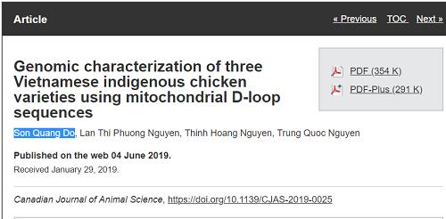 Bài báo khoa học đã được xuất bản. Đỗ Quang Sơn là tác giả chính. Đồng tác giả là sinh viên Nguyễn Thị Phương Lan và hai giảng viên Nguyễn Hoàng Thịnh, Nguyễn Quốc Trung.