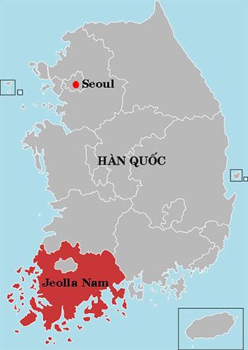 Vị trí tỉnh Jeolla Nam. Đồ họa: Wikipedia