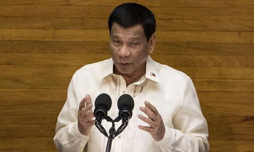 Tổng thống Duterte họp báo hồi đầu tháng 7. Ảnh: AFP.