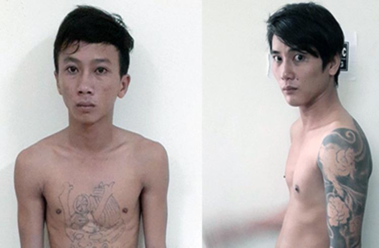 Linh (trái) và Sơn - hai nghi can cầm đầu nhóm tội phạm. Ảnh:Công an cung cấp.