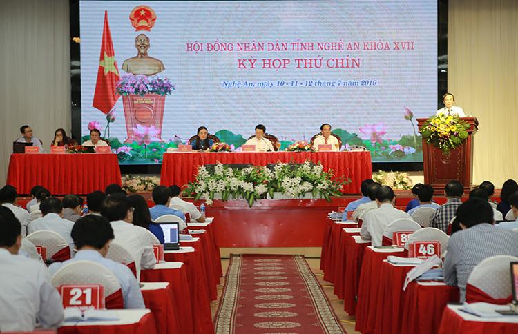 Kỳ họp thứ 9, HĐND Nghệ An khóa 17 diễn ra từ ngày 10 đến 12/7. Ảnh: Nguyễn Hải.