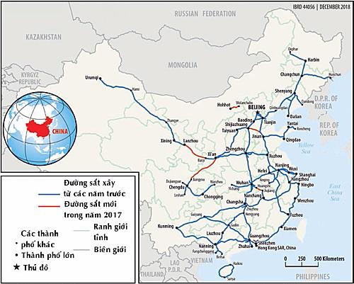 Hệ thống đường sắt ở Trung Quốc năm 2017. Đồ họa: WB. (Bấm vào hình để xem cỡ lớn)