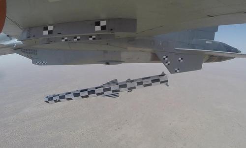 Tên lửa BrahMos-A tách khỏi tiêm kích Su-30MKI trong thử nghiệm hôm 22/5. Ảnh: IAF.