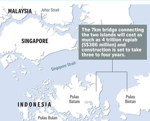 Vị trí đảo Batam và Bintan của Indonesia. Đồ họa: Straits Times.