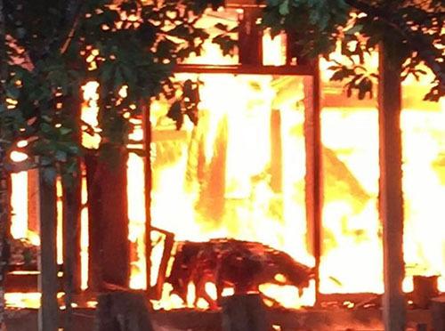Sét đánh trúng dây điện, gây cháy nhà ở Hà Tĩnh - ảnh 1