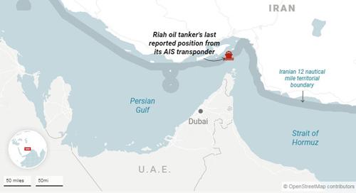 Vị trí tàu dầu Riah trước khi mất liên lạc. Đồ họa: AP.