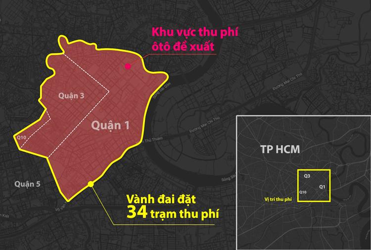 Khu vực thu phí được ITD đề xuất (bên trong đường màu đỏ).