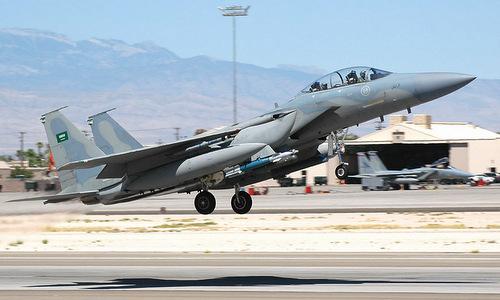 Tiêm kích F-15 Arab Saudi mang bom dẫn đường trong đợt tập trận tại Mỹ. Ảnh: Military Edge.