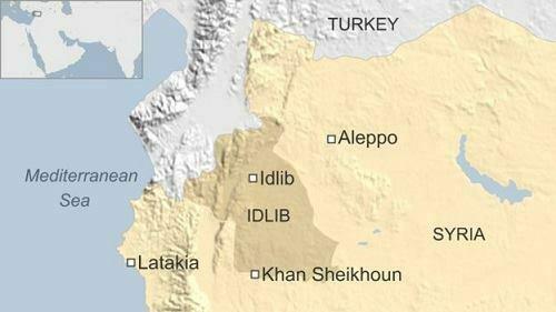 Vị trí tỉnh Idlib và Hama. Đồ họa: BBC.