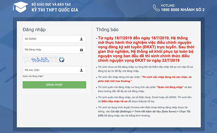 Giao diện hệ thống thí sinh đăng nhập để điều chỉnh nguyện vọng trực tuyến. Ảnh chụp màn hình