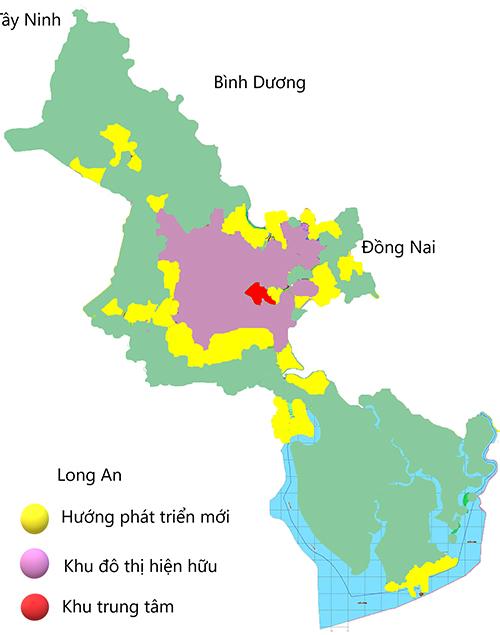 Hướng phát triển mới (màu vàng) của TP HCM. Đồ hoạ: Nguyễn Tâm.