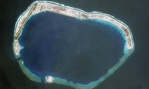 Trung Quốc xây dựng trái phép tại đá Vành Khăn ở quần đảo Trường Sa củaViệt Nam tháng 10/2017. Ảnh: CSIS.
