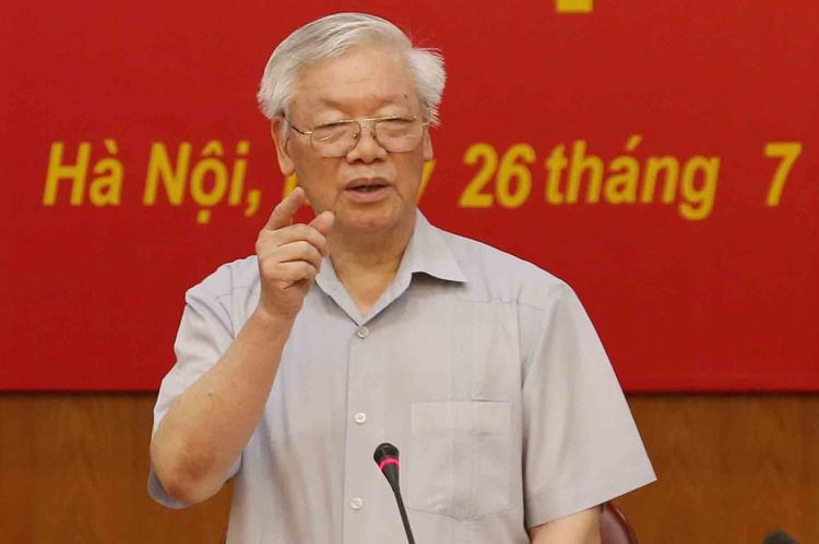 Tổng bí thư, Chủ tịch nước Nguyễn Phú Trọng chủ trì phiên họp Ban chỉ đạo trung ương Phòng chống tham nhũng sáng 26/7. Ảnh: TTX