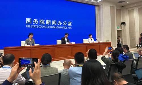 Khung cảnh buổi họp báo của Văn phòng Các vấn đề Hong Kong và Macau tại Bắc Kinh hôm nay. Ảnh: SCMP.