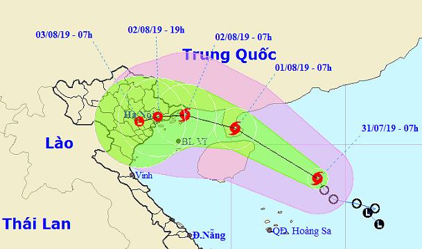 Dự báo đường đi và khu vực ảnh hưởng của bão sáng 31/7. Ảnh: NCHMF