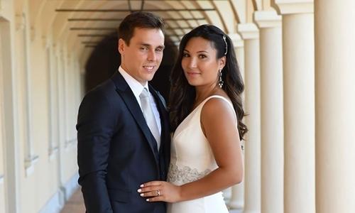 Marie Hoa Chevallier và chồng trong hôn lễ tại Monaco ngày 28/7. Ảnh: Instagram.
