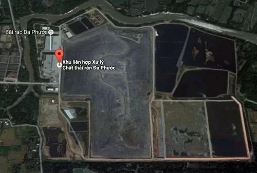 Khu liên hợp xử lý chất thải Đa Phước ở huyện Bình Chánh có 3 đơn vị đang hoạt động. Ảnh: Google maps
