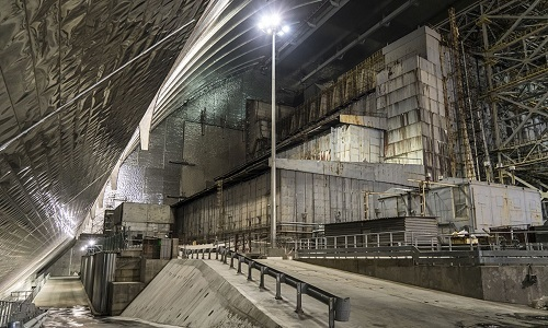 Quang cảnh bên trong quan tài thép mới bao trùm nhà máy Chernobyl. Ảnh: AFP.