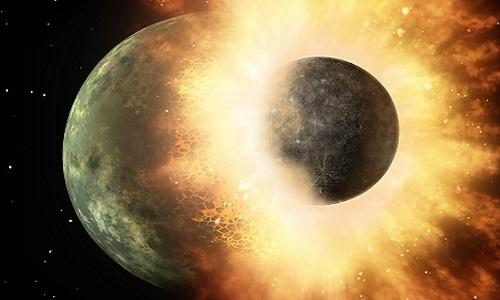 Vụ va chạm giữa Trái Đất và Theia. Ảnh: Universe Today.